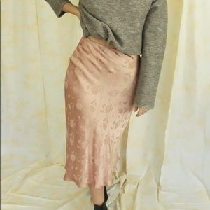 Cotton Candy LA Rose Satin Midi Skirt S
